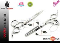 "Hot sales:6""inch HAKUCHO Professional Hair Cutting Scissors set 1 razor shear+1 thinning shear with bag,Barber scissors 440C"
