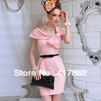 Free shipping Pink doll brand 2014 spring and summer pink bow slim one-piece dress