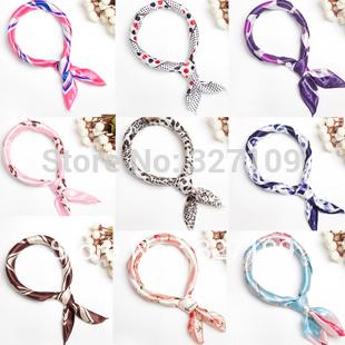Mix Wholesales Lots Sale Polyester Small Square Scarf 50cm  Multifunctional bandana Headband Shawl Wrap