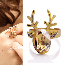Min.order $15=free shipping!gold crystal plated christmas deer head opening ring for women&amp;#39;s party gift(China (Mainland))
