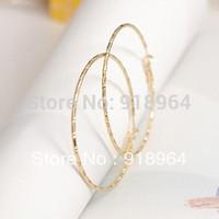 B039 Fashion Jewelry Women Gold Silver 5.2cm Dia Hoop Earrings