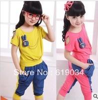Free shipping Female child spring set 2013 denim set spring short-sleeve T-shirt female child set summer wholesale