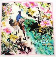 100% Chinese Mulberry Silk 55cm Small Square Scarf Vintage Flower Oil Painting Digital Hostess Scarf  Handbag Decor