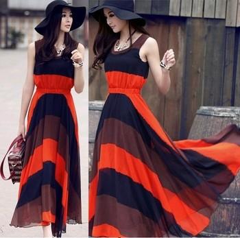 2015 Summer Dresses Women Bohemian Chiffon Long Style Stripe Pachwork Pleated Sleeveless Casual Dress G20131001