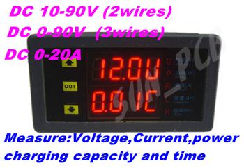 FreeShipping DC10-90V20A Dual LED Display Digital Voltmeter Ammeter multifunction power meter watt Voltage Voltage Current Meter