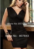 retail 2014 HOT SALE New Women' s Women Sexy Black /Yellow Dress Mini Dress Party Dress Evening Dress ONE size