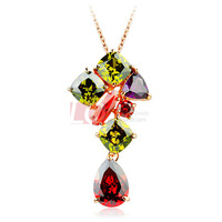 LQ Fashion Necklace Colorful Austrian Crystal Stone with 18K Gold Plated Alloy Necklace Gift for Women on Sale Jewelry