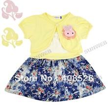 2014 Baby Girls Kids Summer Children's Dress Sets Braces Skirt + Short Sleeve Coat free shipping 11195(China (Mainland))