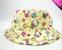 (50 Pcs/Lot) 3 Sizes 3 Colors Option Love Heart 100% Cotton Hello Kitty Children Girl's Sun Hat