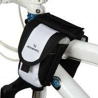 ROSWHEEL Fashion Bicycle Multi-Function Bike Beam Tube Black+ White Bag Bike Mobile Phone Pack
