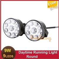 Free Ship Car Light Source 2x 2.75''12V 9W White 9LED Car Daytime Running LED DRL Fog Lamp Day Driving Warning Light