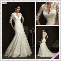 Custom Classic vintage Lace Long Sleeve White/Ivory Wedding Dress Bridal Gown