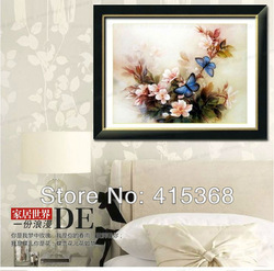 Free shpping! Big Size 92*65cm Flower&amp;Blue Butterfly Cross Stitch, Accurate and Easy DIY Home Decoration/Gift(China (Mainland))