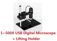 2013 NEW 1~500X Continuous Zoom HD USB Digital Microscope 8 LED 2 Million Pixels / Endoscope Magnifier Camera+Lifting Holder