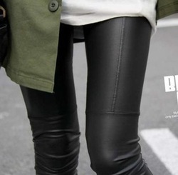 2013 New arrival Spring Imitation Leather Patchwork Black Women Legging Show Slim Ninth Pants k562(China (Mainland))
