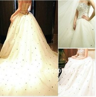 Bind the tail wedding dress strapless crystal drill with the new 2013 spring big trailing princess wedding dress