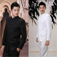 Golden round men's clothing set chinese tunic suit black white stand collar suit casual men's clothing  Free shipping