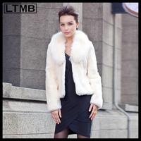 LTMB Women rex rabbit fur coat short style turn down fox fur coat full sleeve fashion winter  genuine leather coat 2014