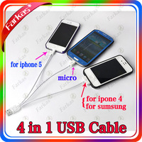 New 4 in 1 USB Cable Micro Mini USB Sync Data Charger Cable for iPhone 4 4S iPad HTC Samsung Nokia Sony