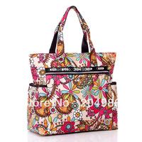 Flower Waterproof Nylon Plus Size Handbag Shoulder Bags Beach Bag Nappy Women Handbag New Arrival 2013 Free Shipping SM030