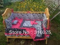 handmade baby comforter,bumper pad,sheet,beautiful ruffle, comfortable,4 crib piece bedding. free shipping