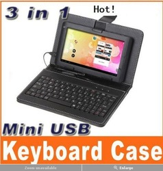 "Mini USB Keyboard Protective Leather Case Stand for 7"" Tablet PC MID(China (Mainland))"