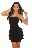 2013 New Fashion Women's Strapless Ruffle Dresses Sexy Dress Black Pink Large Size Clubwear 2626 Drop Shipping