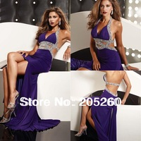 Hot Sale New Fashion Halter V-neck Beaded Front Split Backless Purple Long Sexy Prom Dresses 2014 FO071