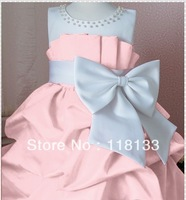 2013 NEW children dress girls High-grade Princess dresses chiffon Big bowknot dresse for summer red and pink