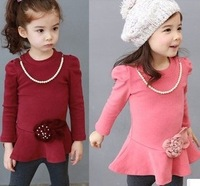 2013 children's spring dress baby girl princess dress with  necklace and flower 100% cotton