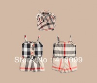 Wholesale Free shipping 6sets/lot kids clothes Girl's Summer Clothing Set 2pcs/set Hat +jumpsuit  Plaid Suits 6 size
