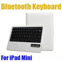 Removable Separable Bluetooth Wireless Keyboard Leather Case Cover Pouch Stand For Apple iPad Mini-White