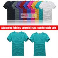 2013 free shipping new 10 color the classic senior Lycra V collar couple Mens T-shirt men's fashion short shirts lovers