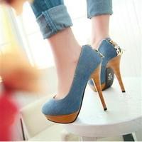 Free shipping 2013 spring denim women's high heels. Dark blue/light blue size: 34 - 39 codeyards