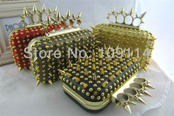 2013 NEW Lady's Spike Knuckle four ring Rivet Metallic Stud Lace Clutch Purse Evening Bag chain bag handbag purse bag crazy(China (Mainland))