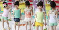 (5pcs/1lot free shipping)Wholesale girls Summer Vest tops Shirts Soft Cotton Lace Back baby girl t-shirts vests kids shirts