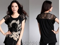 New arrival HK ! 2013 New fashion 3D flowers women's short sleeve T shirts Size M-XL  AL003