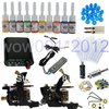 Complete Tattoo Kit 2 Machines Gun 10 Ink Pigment Grips Power Needles Supply(China (Mainland))