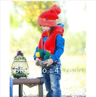 children knitting acrylic wool the spring warm winter hat scarf sets suitable for children aged 3-9 years free shipping red