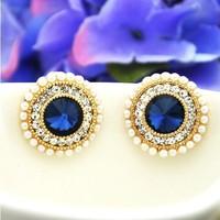 High Quality New 2014 brincos Boutique Fashion Round Pearl Stud  Earrings Rhinestone Zircon Earrings For Women  ED004