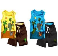 Summer fashion school bag paragraph sleeveless T-shirt shorts child set Boys and girls all like