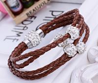 Free Shipping 2014 new arrive 30pcs /lot so nice women manual  Bracelets  leather bracelets