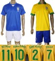 can customed !2013-2014 newest style brazil blue yellow color soccer jerseys,brazil home soccer uniforms kits free shipping