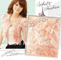 Best sell 1pcs Rose petals small shawl jacket ladies coat women's Short sleeve jacket clothing