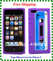 High Quality Retro Cassette Tape Silicon Case Cover For iphone 5 5g Free Shipping