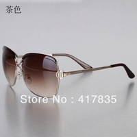 Free shipping Dark brown Fashion Ladies Sunglasses Big box Metal UV protection Women Men High quality Brand Sunglasses
