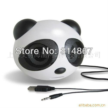 Hot sale,panda dynamic digital portable speaker mini speaker mp3 player for iPod iPhone computer+Retail free shipping XYX002