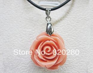 Powder red coral rose pendant