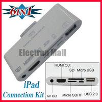 FREE SHIPPING!! 6 in 1 SD MS TF Kit & HDMI HDTV & AV & Micro USB Combo Camera Connection Kit for iPad 1 2 3 iPhone 4 4S