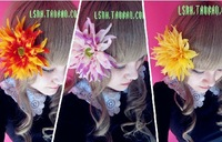 Yellow Orange White 3Color women adornment for the hair decoration rosette silk fabric flower pin hair bows with clips